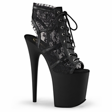 Pleaser Flamingo-896LC Open Toe/Heel Lace Ankle Boot