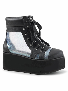 Pleaser Grip-102 Holographic Panel Ankle Boots