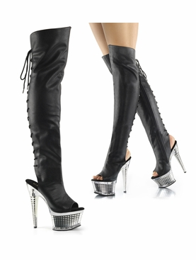 Pleaser Illusion-3019 Open Toe/Heel Lace-Up Back Thigh High Boot
