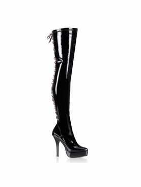 Pleaser Indulge-3063 Back Lace Up Stretch Thigh Boot