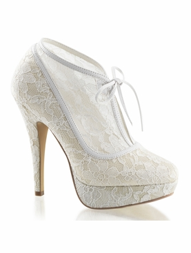 Pleaser Lolita-32 Mesh Lace Overlay Ankle Bootie