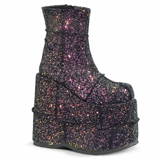 Pleaser Men's Stack-201G Glittery Ankle Boots W/Patching Design