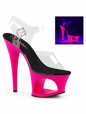 Pleaser Moon-708UV Ankle Strap Sandal W/Reactive Platform