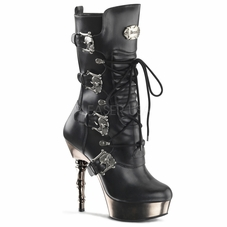 Pleaser Muerto-1026 Lace Up Boots With Skull Buckles