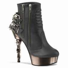 Pleaser Muerto-900 Moto Ankle Boot W/Skull Buckles