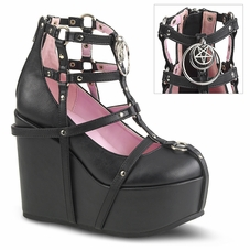 Pleaser Poison-25-1 Wedge Platform Cage Bootie