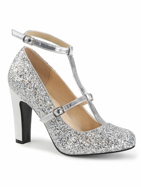 Pleaser Queen-01 Round Toe Pump W/ Glitter