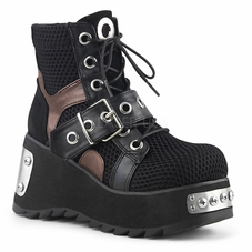 Pleaser Scene-53 Lace Up Ankle Boot W/Buckle Straps