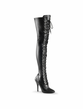 Pleaser Seduce-3024 D-ring Lace Up Stretch Thigh High Boot