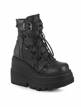 Pleaser Shaker-60 Lace-Up Dual Buckle Ankle Boot
