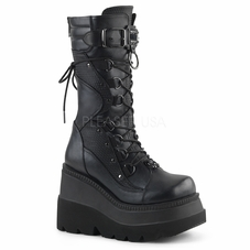 Pleaser Shaker-70 Wedge Platform Lace-Up Mid-Calf Boot