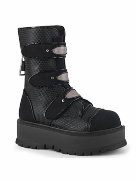 Pleaser Slacker-101 Lace-Up Front Mid-Calf Boot