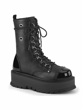 Pleaser Slacker-150 D-Ring Lace-Up Front Ankle Boot