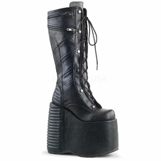 Pleaser Slay-320 Moto Jacket Stitching Knee High Boots