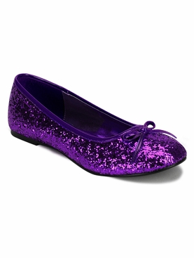 Pleaser Star-16G Ballet Glitter Flat With Bow Accent