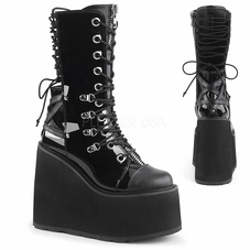 Pleaser Swing-120 Double D-Ring Lace-Up Mid-Calf Boot