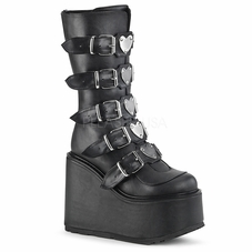 Pleaser Swing-230 Mid-Calf Boots W/Heart Plates in Front