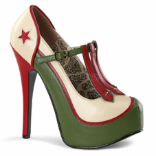 Pleaser Teeze-43 Platform Military Themed T-Strap Pump