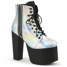 Pleaser Torment-712 Hologram Lace-Up Ankle Boot