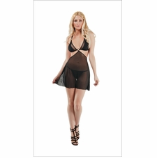 Mesh And Solid Babydoll With G-String