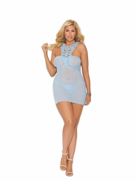 Plus Elegant Moments 44005X Babydoll With Crochet Detail