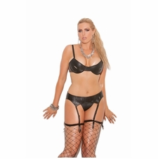 Plus Leather/Vinyl Thong and Garter Belt