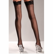 Plus Sheer Back Seam Thigh Highs