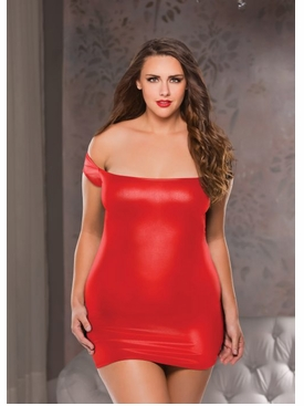 Plus Size Allure 17-4002X Wet-Look Off Shoulder Dress
