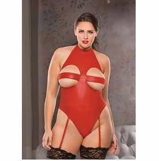 Plus Size Allure 4-1002X Wet-Look Peekaboo Halter Teddy