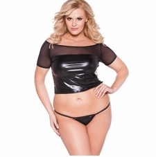 Plus Size Allure 5-6602XK Wet Look Off Shoulder Top