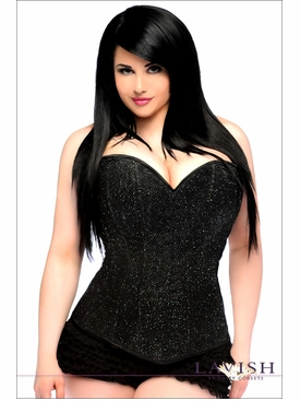 Daisy Corsets Plus Size LV-208X Black Glitter Side Zipper Corset