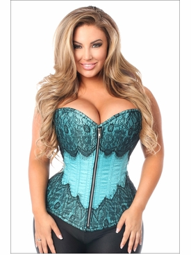 Daisy Corsets Plus Size TD-296 Teal Brocade Corset