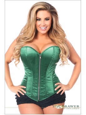 Daisy Corsets Plus Size TD-670 Dark Green Satin Steel Boned Corset