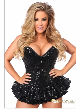 Daisy Corsets Plus Size TD-810 Black Sequin Mini Corset Dress