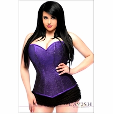 Plus Size Daisy Corset LV-312 Purple Glitter Side Zipper Corset