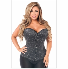 Plus Size Daisy TD-1000 Elegant Black Embroidered Steel Boned Corset