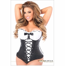 Plus Size TD-196 Faux Leather Peasant Top Corset