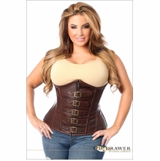 Plus Size Daisy TD-638 Distressed Faux Leather Underbust Buckle Corset