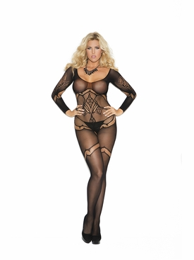 Plus Size Elegant Moments 1289Q Crochet Bodystocking