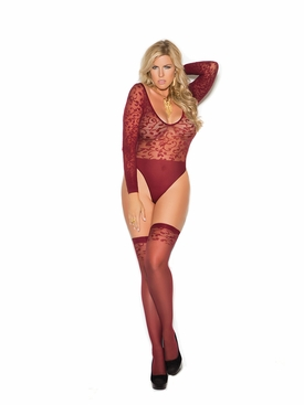 Plus Size Elegant Moments 1358Q Sheer Teddy And Stockings