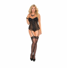 Plus Size Elegant Moments 4140X Lace Bustier Set