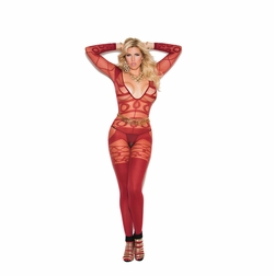 Plus Size Elegant Moments 81161Q Sheer Opaque Bodystocking