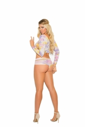 Plus Size Elegant Moments 82010Q Long Sleeve Cami With Shorts