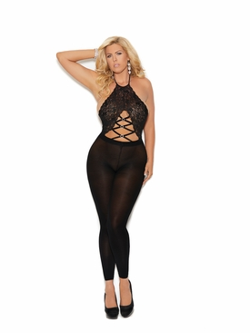 Plus Size Elegant Moments 82182Q Lace Footless Bodystocking