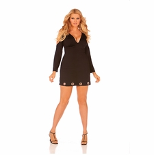 Plus Size Elegant Moments 8273X Long Sleeve Mini Dress