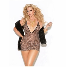 Plus Size Elegant Moments 8512X Leopard Print Mini Dress