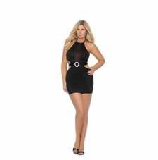Plus Size Elegant Moments 88044X Lycra Halter Mini Dress