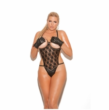 Plus Size Elegant Moments L2216X Open Bust Leather and Lace Teddy