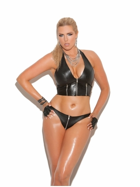 Plus Size Elegant Moments L9203X Zip Up Leather Thong