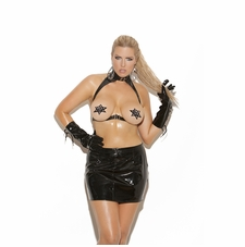 Plus Size Elegant Moments V1930X Vinyl Cupless Bra with Spanking Skirt